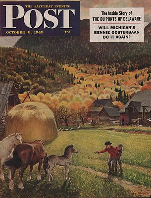 ORIG VINTAGE MAGAZINE COVER/ SATURDAY EVENING POST - OCTOBER 8 1949illustrator- John  Clymer - Product Image
