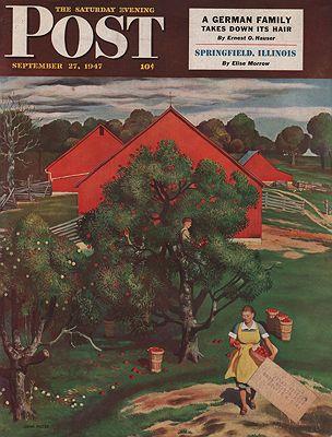 ORIG. VINTAGE MAGAZINE COVER/ SATURDAY EVENING POST - SEPTEMBER 27 1947illustrator- John  Falter - Product Image