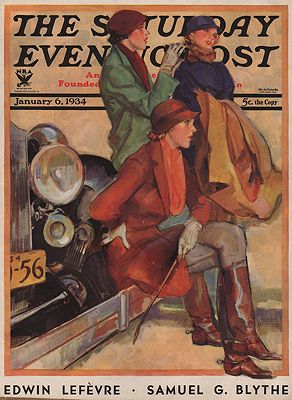 ORIG VINTAGE MAGAZINE COVER/ SATURDAY EVENING POST -JANUARY 6 1934illustrator- John  LaGatta - Product Image