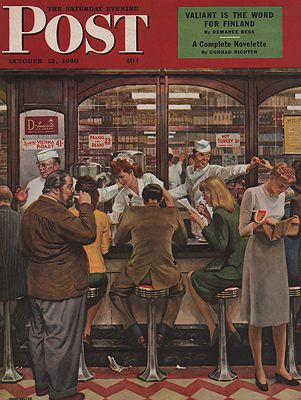 ORIG VINTAGE MAGAZINE COVER/ SATURDAY EVENONG POST - OCTOBER 12 1946illustrator- John  Falter - Product Image