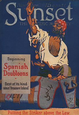 ORIG VINTAGE MAGAZINE COVER/ SUNSET - NOVEMBER 1917illustrator- Harold Von  Schmidt - Product Image