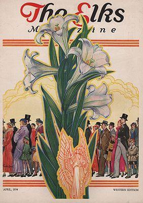 ORIG VINTAGE MAGAZINE COVER/ THE ELKS MAGAZINE - APRIL 1934illustrator- Franklin  Booth - Product Image