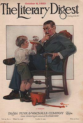 ORIG. VINTAGE MAGAZINE COVER/ THE LITERARY DIGEST - OCTOBER 6 1923illustrator- E.M.  Jackson - Product Image