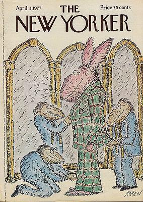 ORIG VINTAGE MAGAZINE COVER/ THE NEW YORKER - APRIL 11 1977illustrator- Ed  Koren - Product Image