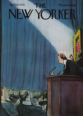 ORIG VINTAGE MAGAZINE COVER/ THE NEW YORKER - APRIL 14 1975 1975illustrator- Charles  Saxon - Product Image