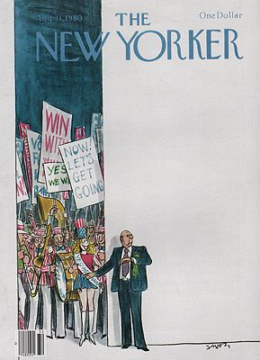 ORIG VINTAGE MAGAZINE COVER/ THE NEW YORKER - AUGUST 11 1980illustrator- Charles  Saxon - Product Image