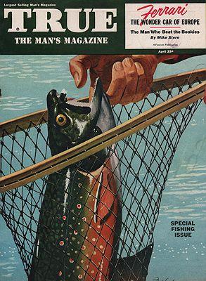 ORIG VINTAGE MAGAZINE COVER/ TRUE APRIL 1952illustrator- Fred  Ludekens - Product Image