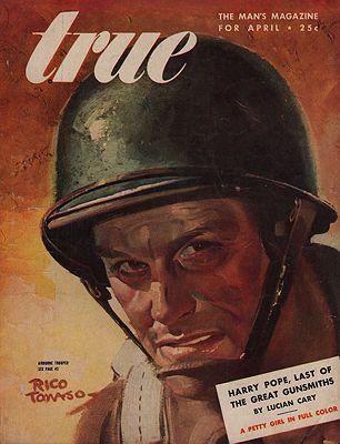 ORIG VINTAGE MAGAZINE COVER/ TRUE MAGAZINE APRIL 1945illustrator- Rico  Tomaso - Product Image