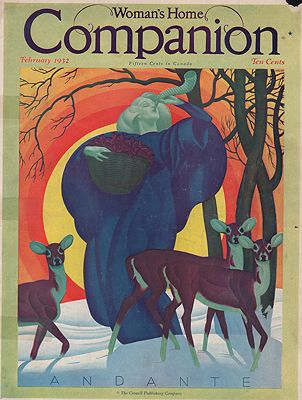 ORIG VINTAGE MAGAZINE COVER/ WOMANS HOME COMPANION - FEBRUARY 1932illustrator- William P.  Welsh - Product Image