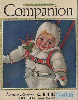 ORIG VINTAGE MAGAZINE COVER/ WOMAN'S HOME COMPANION - JANUARY 1939illustrator- Maud Tousey   Fangel - Product Image