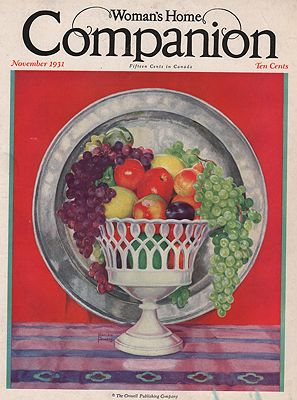 ORIG VINTAGE MAGAZINE COVER/ WOMAN'S HOME COMPANION - NOVEMBER 1931illustrator- Marion  Powers - Product Image