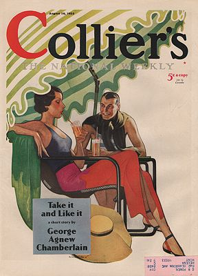 ORIG VINTAGE MAGAZINE COVER/COLLIERS - AUGUST 19 1933illustrator- Robert O.  Reid - Product Image