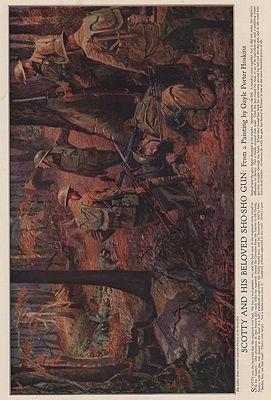 ORIG VINTAGE MAGAZINE ILLUSTRATION / SCOTTY AND HIS BELOVED SHO-SHO GUNillustrator- Gayle Porter  Hoskins - Product Image