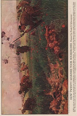 ORIG VINTAGE MAGAZINE ILLUSTRATION/ HOW TWENTY MARINES TOOK BOURESCHESillustrator- Frank  Schoonover - Product Image