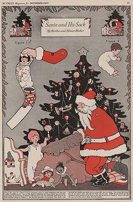 ORIG VINTAGE MAGAZINE ILLUSTRATION/ SANTA AND HIS SACKillustrator- Berthe and Elmer  Hader - Product Image
