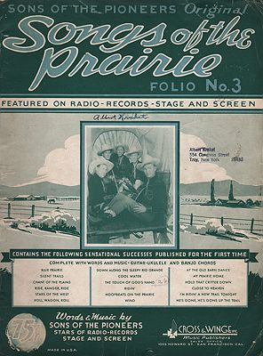 Sons of the Pioneers Original Songs of the Prairie Folio No 3Sons of the Pioneers - Product Image
