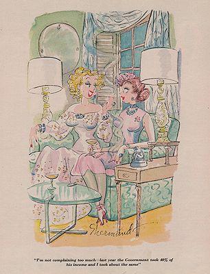 VINTAGE MAGAZINE ILLUSTRATION/ ESQUIRE JANUARY 1952illustrator- Barbara  Shermund - Product Image