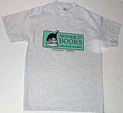 Monroe Street Books Gray tee shirt with the Monroe Street Books logo with cat in green.