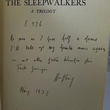 Broch's signature on this copy of The Sleepwalkers.