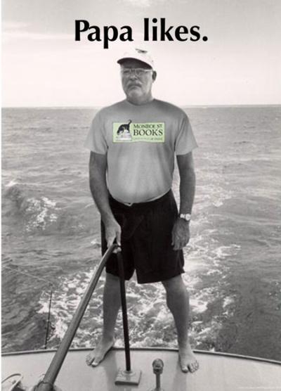 Hemingway wearing Monroe Street Books T-shirt